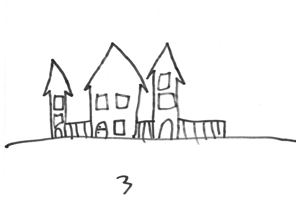 Dit is mijn huis. Het staat midden tussen andere huizen in. Voor de deur woont Torrie, achter de deur woon ik.